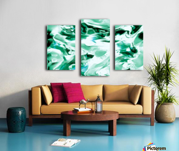 Icicles - turquoise white abstract swirls wall art Canvas print