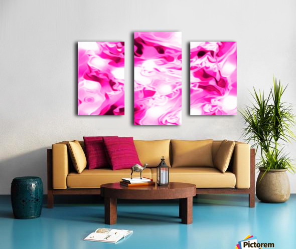Roses with Vanilla Ice Cream - pink white red large abstract swirl wall art Canvas print