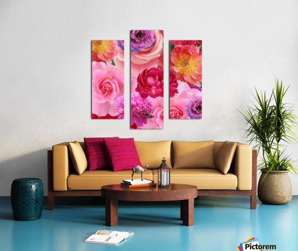 Flower abundance. Pink floral background. Canvas print