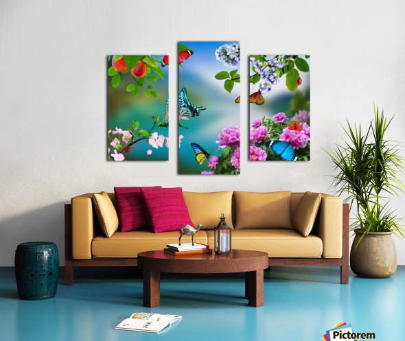 Holiday of life. Butterflies Flowers Canvas print