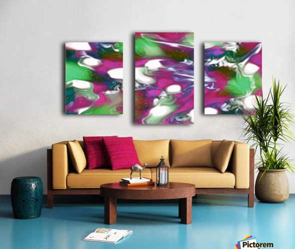 Plums & Lime with Mint Leaves - purple green white swirls and spots large abstract wall art Canvas print
