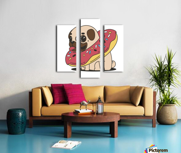 pug donut sweets tasty bun Canvas print