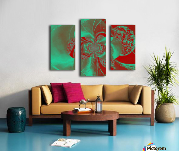 Emerald and Red Circular Patterns Canvas print