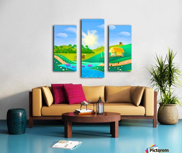 tropical resort huts lake river Canvas print