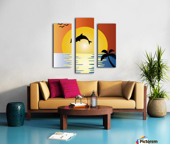 ocean sunset dolphin palm tree Canvas print
