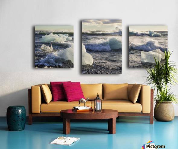 Ice bergs on Jokulsarlon beach Iceland Canvas print