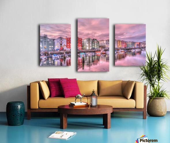 trondheim norway sunrise river Canvas print