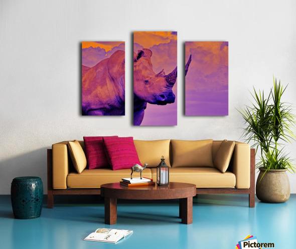 White Rhino orange purple Canvas print