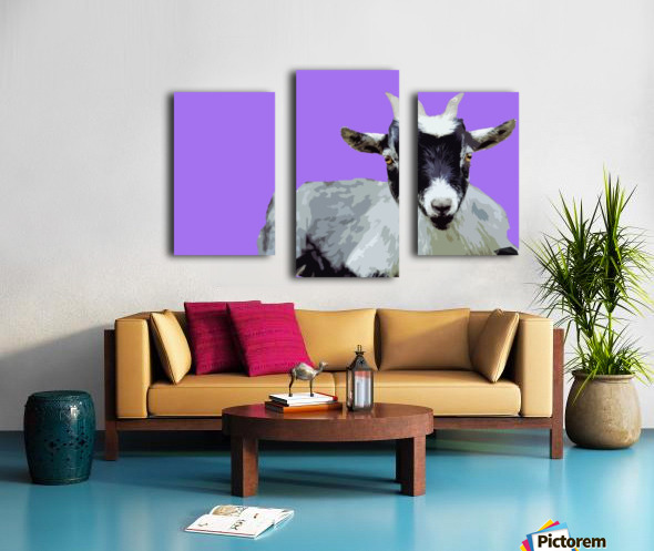 Goat popart purple Canvas print