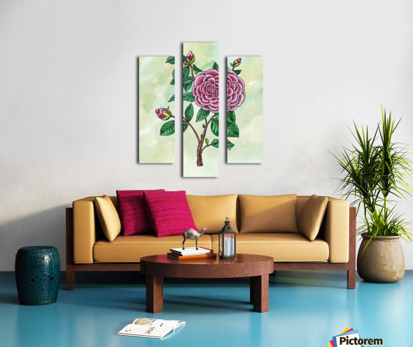 Botanical Watercolor Japanese Camellia Flower  Canvas print