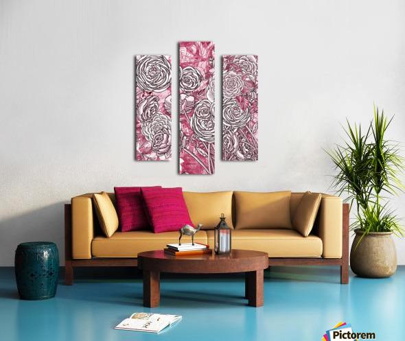 Watercolor Botanical Flowers Garden Pink Flowerbed V Canvas print