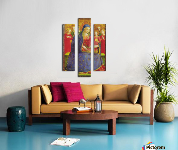 Virgin with the child and four angels Canvas print