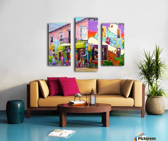 MONTREAL SUMMER PAINTING CHEZ JOSE PLATEAU CAFE SCENE Canvas print