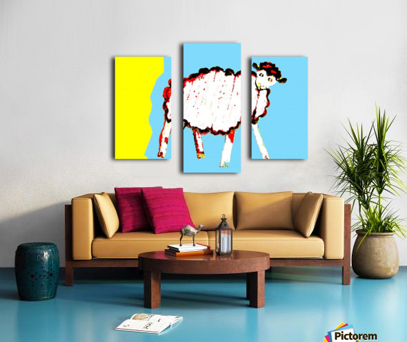 Little Aussie Sheep - Blue Canvas print