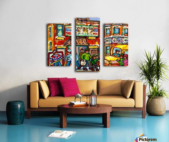 FAIRMOUNT BAGEL MONTREAL PAINTING CHEZ VITO WINTER CITY SCENE Canvas print