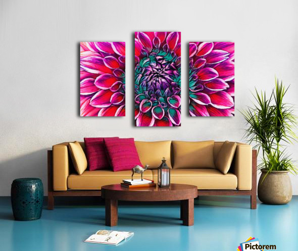 Red flower and Green Canvas print