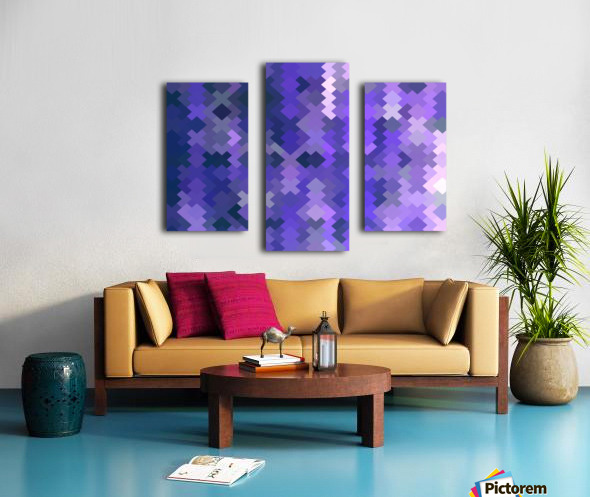 geometric square pixel pattern abstract in purple Canvas print