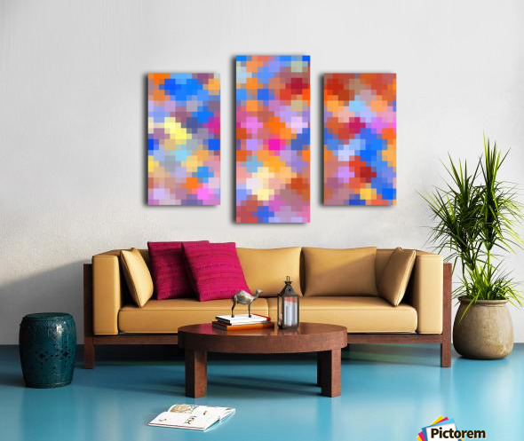 geometric square pixel pattern abstract in pink blue orange Canvas print