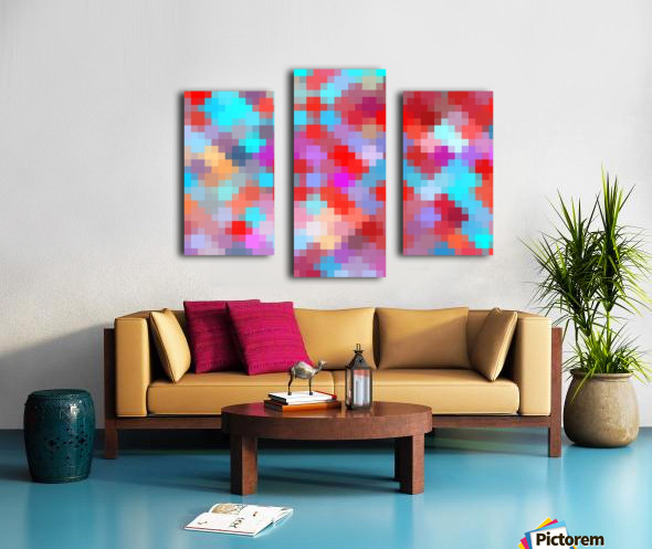 geometric square pixel pattern abstract in pink red blue Canvas print