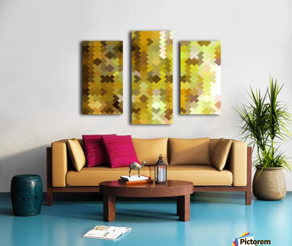 geometric square pixel pattern abstract in yellow and brown Canvas print