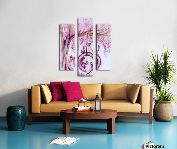 Fillette et chats Canvas print