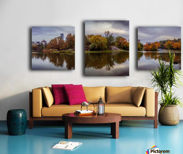 Central park lake panorama Canvas print