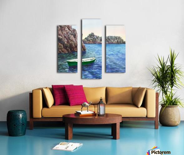 Green Boat Blue Sea Grotto Emeraldo Harbor  Canvas print