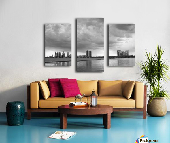 City at Ontario Lake B&W Canvas print