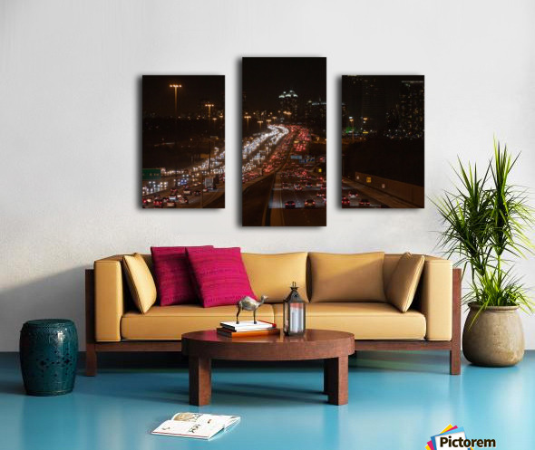 Busy road at night Canvas print