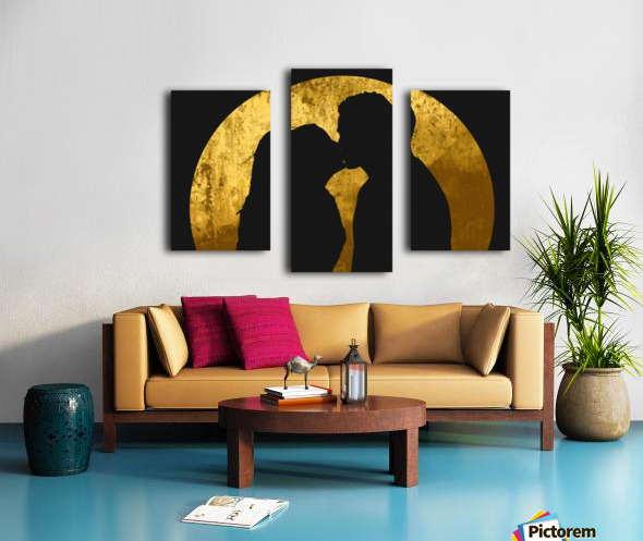 kiss and the moon Canvas print