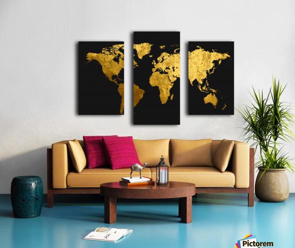 Golden World Map Canvas print