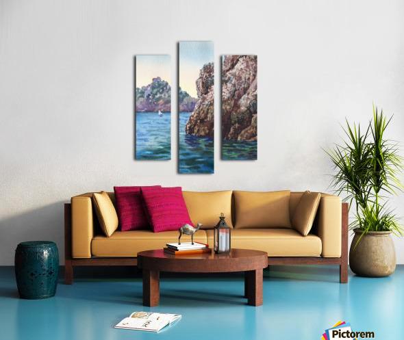 Seascape Harbor Rocky Shore Watercolor Painting Canvas print