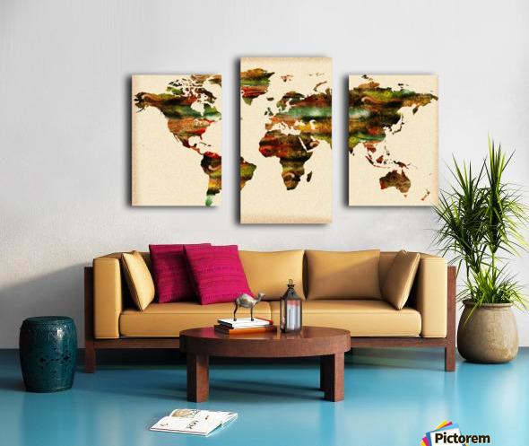Watercolor World Map Vintage Brown Canvas print