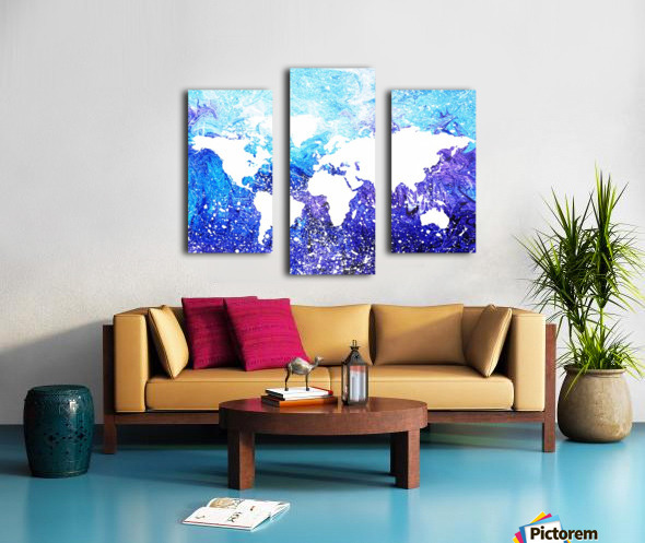 Watercolor Silhouette World Map Global Cooling  Canvas print