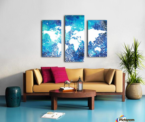 White And Teal Watercolor Silhouette World Map  Canvas print