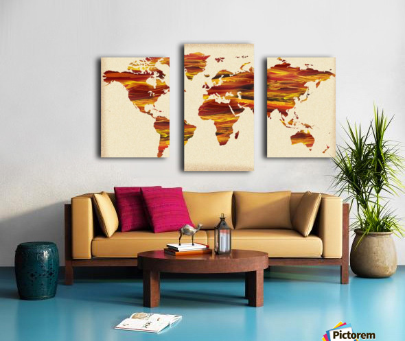 Watercolor Silhouette World Map Terra Lines Canvas print