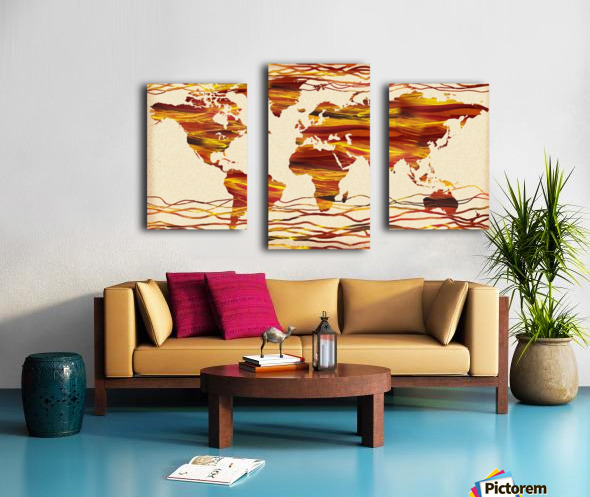 Watercolor Silhouette World Map Brown Beige Waves  Canvas print
