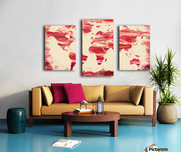 Watercolor Silhouette World Map Pink Terra Canvas print