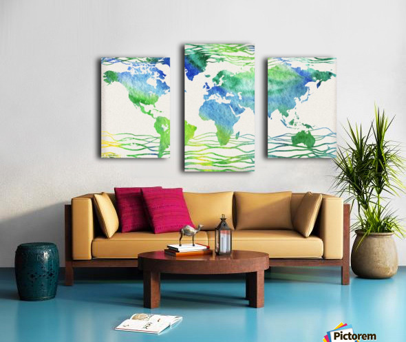 Watercolor Silhouette World Map Blue Green Wave  Canvas print