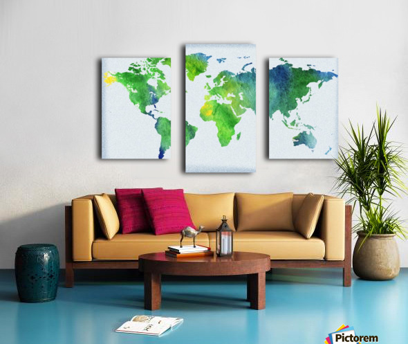 Watercolor Silhouette World Map Peaceful Green  Canvas print