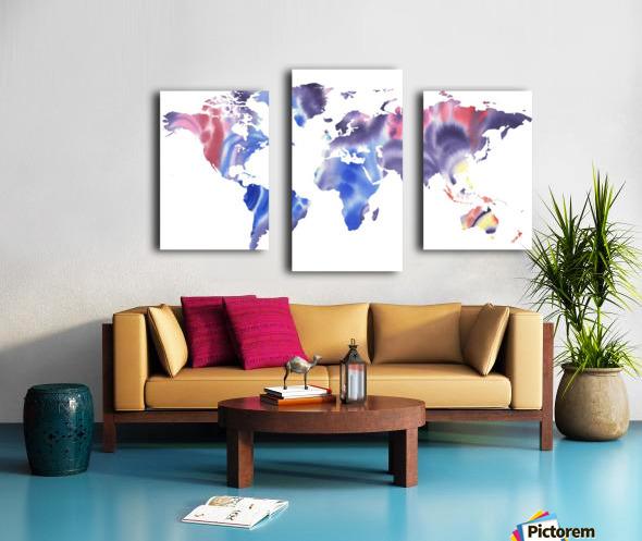 Watercolor Silhouette World Map Purple Blue Canvas print