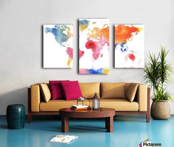 Watercolor Silhouette World Map Rainbow Sea Canvas print