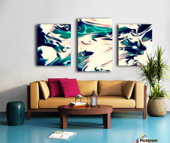 Crystal Spine - green white blue multicolor abstract swirl wall art Canvas print