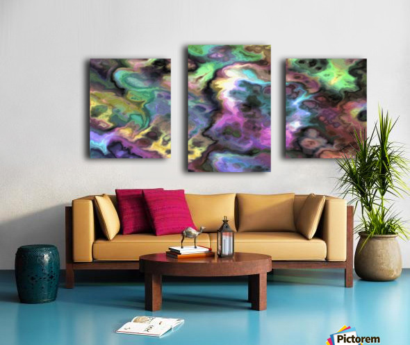 Dark Rainbow Marble multicolor abstract pattern wall art Canvas print