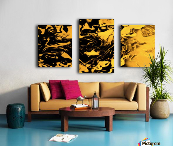 Richer fusion - gold and black gradient abstract wall art Canvas print