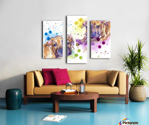 2 Colorful Dogs Brindle - Portrait of Emma and Louis Canvas print