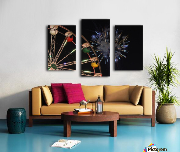 Ferris Wheel and Fireworks Canvas print