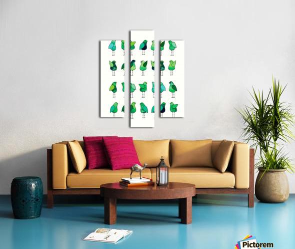 Gossip Birds Green Canvas print