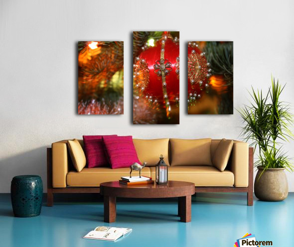 Festive Christmas holiday background with Santa Claus presents and tree. Canvas print