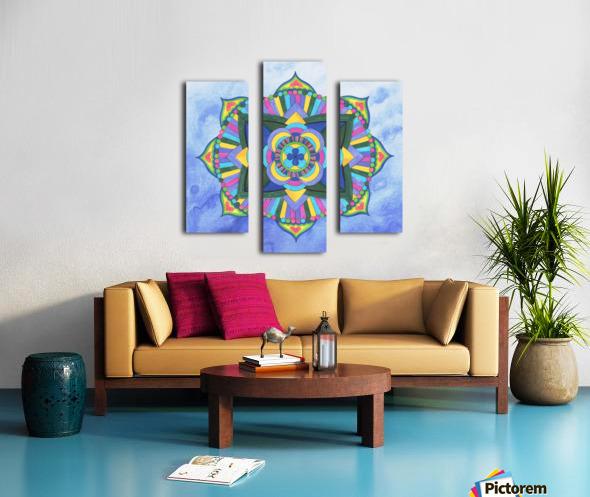 Hand Painted Mandala Watercolor Meditation on Blue Canvas print